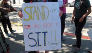Stand up for the right to sit down. A sign of the times in Berkeley.  Janny Castillo photo
